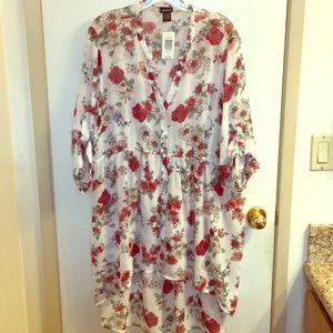 Torrid size 2 hi-lo sheer floral blouse